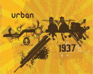 Retro Urban Background Vector Illustration Vector Illustrations building