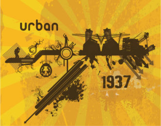 Retro Urban Background Vector Illustration Vector Illustrations building