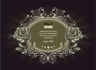 Vector Vintage Label With Roses Vector Illustrations old