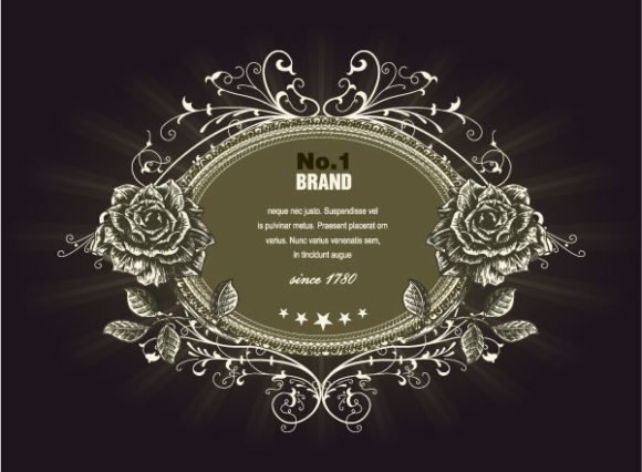 Special Vector Eps Vector: Eps Vector Vintage Label With Roses 1