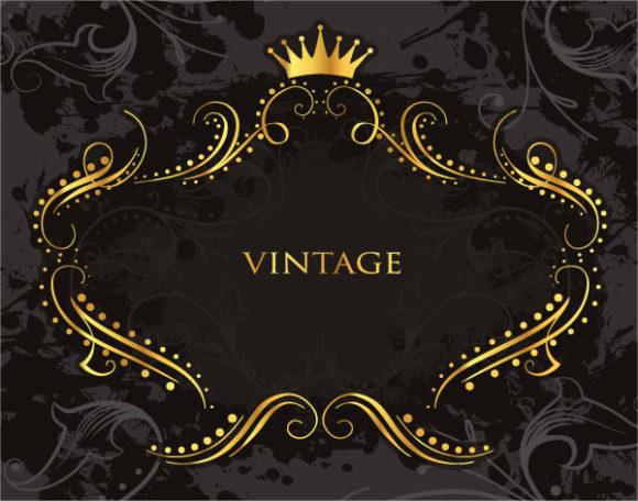 Vintage Gold Frame Vector Illustration 2011 03 5 aa 7