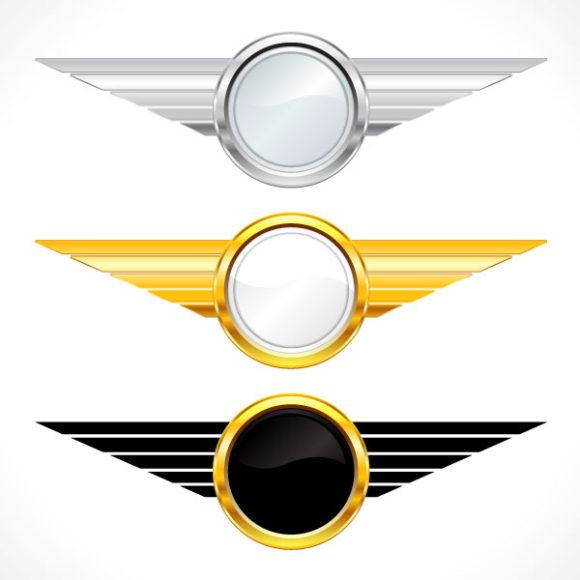 Surprising Set Vector Background: Gold Emblems Set Vector Background Illustration 1