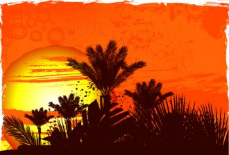 Vector Grunge Summer Background With Palm Trees Vector Illustrations palm