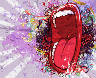 Vector Abstract Background With Screaming Mouth Vector Illustrations old