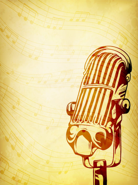 Vector Vintage Concert Poster With Microphone Vector Illustrations old