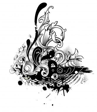 Halftone With Floral Vector Illustration Vector Illustrations old