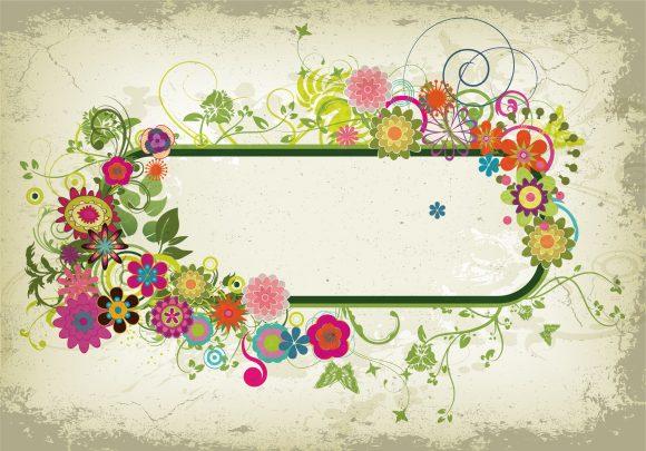 Insane Illustration Vector Artwork: Grunge Floral Frame Vector Artwork Illustration 1