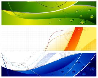 Abstract Web Banners Set Vector Illustration Scenes wave