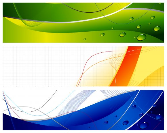Wave, Web, Futuristic Vector Graphic Abstract Web Banners Set Vector Illustration 1