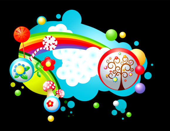 Striking With Vector Artwork: Vector Artwork Colorful Abstract Illustration With Rainbow 1