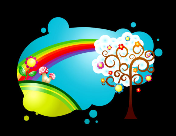 Vector Colorful Abstract Illustration With Rainbow Vector Illustrations tree
