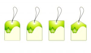 Vector Green Shopping Tags Set Vector Illustrations leaf