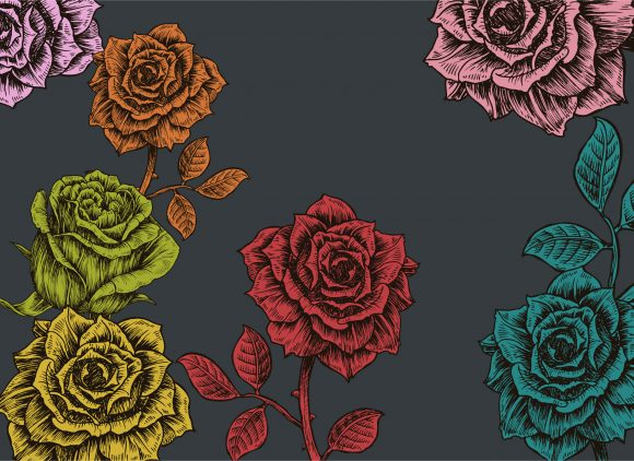 Awesome Floral Vector Background: Floral Background With Roses Vector Background Illustration 5