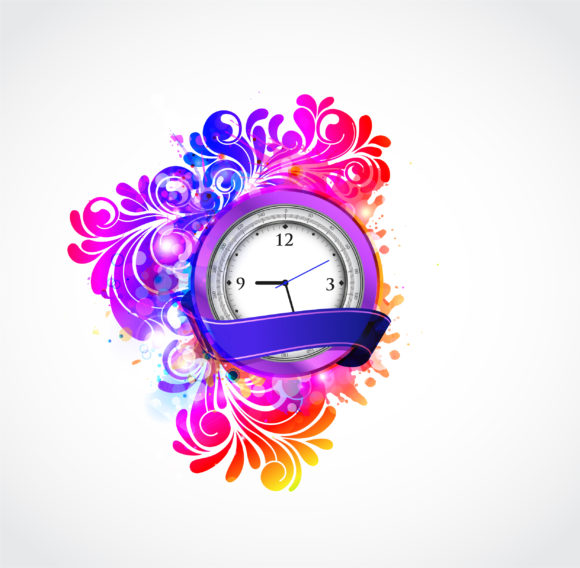 Vector Colorful Abstract Illustration With Clock Vector Illustrations vector