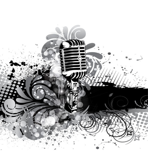 Smashing Old Vector Illustration: Vector Illustration Concert Poster With Microphone 1
