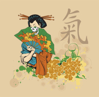 Vector Japanese T-Shirt Design With Geisha Vector Illustrations old