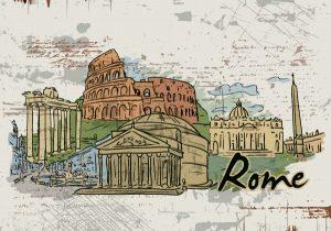 Rome Doodles Vector Illustration Vector Illustrations building