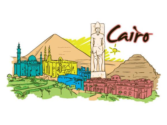 Buy Illustration Vector Art: Cairo Doodles Vector Art Illustration 5