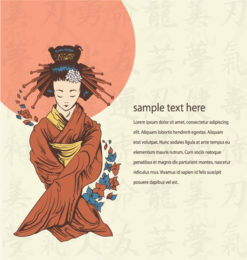 Japanese Background Vector Illustration Vector Illustrations old