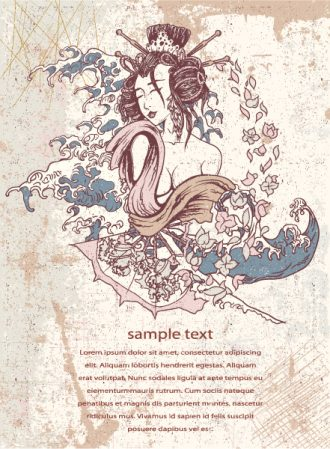 Japanese Background Vector Illustration Vector Illustrations wave