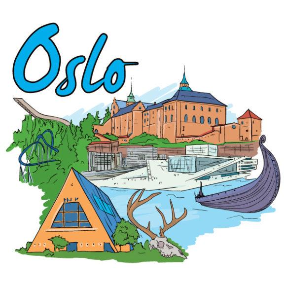 Oslo Vector Background: Oslo Doodles Vector Background Illustration 1