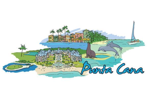 Bold Vector Vector Image: Punta Cana Doodles Vector Image Illustration 1