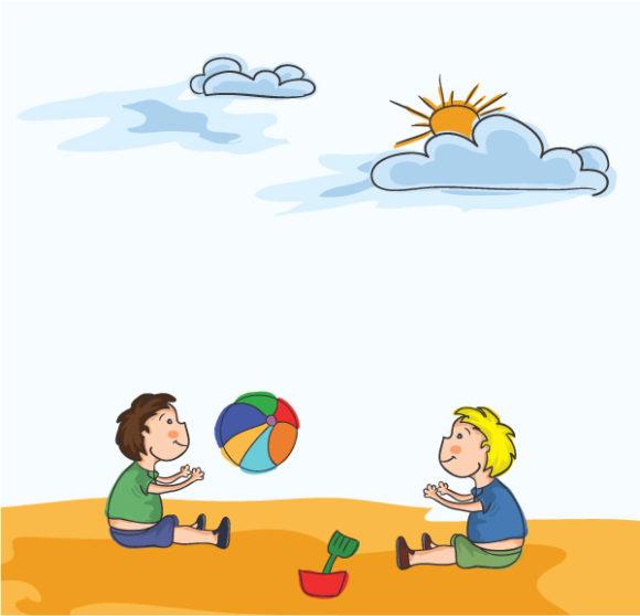 Best Illustration Vector: Cartoon Summer Background Vector Illustration 1