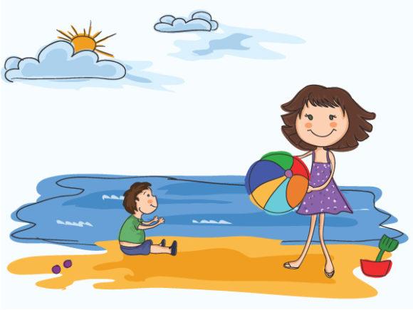 Beach, Vector, Background, Illustration Vector Background Cartoon Summer Background Vector Illustration 1