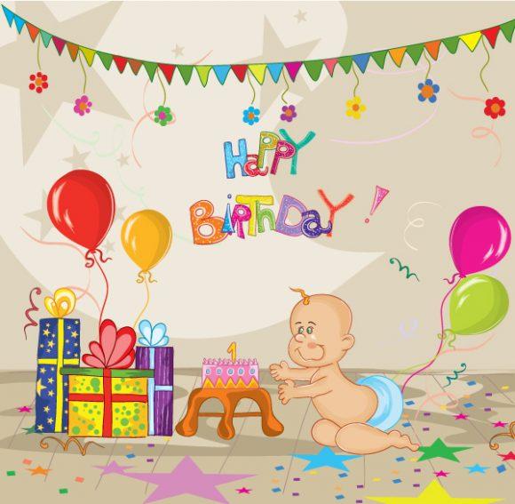 Birthday Vector Graphic Kids Birthday Party Vector Illustration 1
