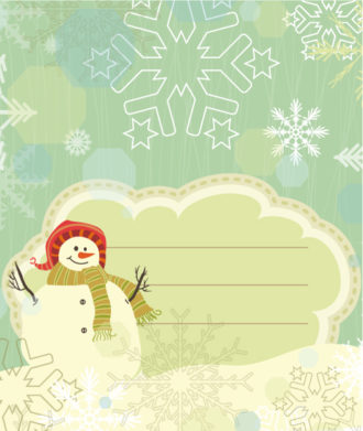Snowman With Snowflakes Vector Illustration Vector Illustrations vector