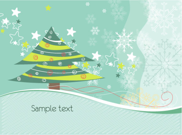 Christmas, Illustration Vector Image Tree With Snowflakes Vector Illustration 1