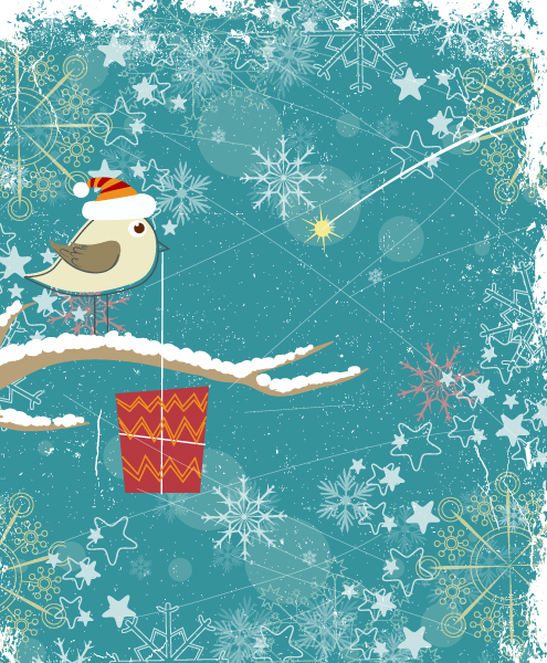 Special With Vector Artwork: Bird With Present Vector Artwork Illustration 1