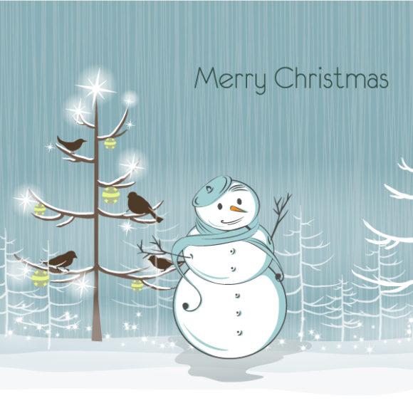 Vector, Illustration, December Vector Background Snowman With Birds Vector Illustration 1