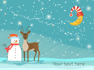 Snowman With Reindeer Vector Illustration Vector Illustrations star