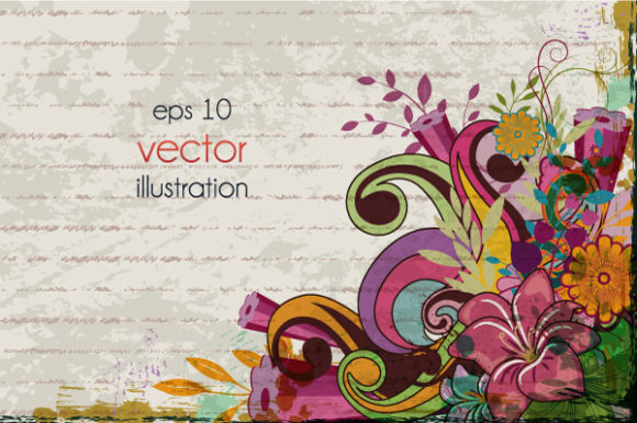 Vector, Grunge, Background, Plant Vector Graphic Grunge Floral Background Vector Illustration 1