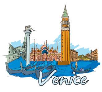Venice Doodles Vector Illustration Vector Illustrations building