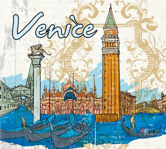 Stunning Venice Vector Background: Venice Doodles Vector Background Illustration 1