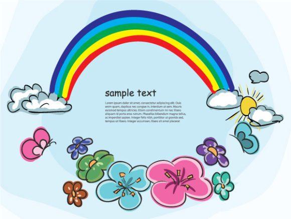 Cartoon Eps Vector: Cartoon Background With Rainbow Eps Vector Illustration 1