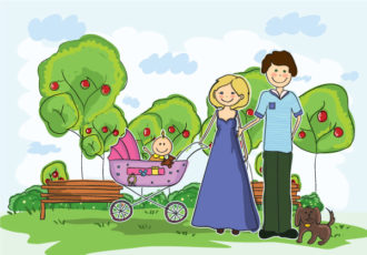 Cartoon Family Background Vector Illustration Vector Illustrations tree