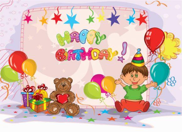 Bear, Kids, Party, Birthday, Illustration Vector Illustration Kids Birthday Party Vector Illustration 1