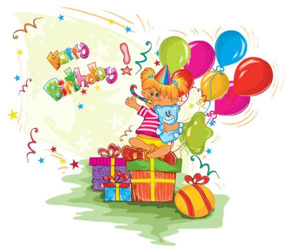 Birthday, Party Vector Art Kids Birthday Party Vector Illustration 1