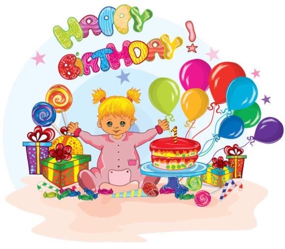Birthday, Kids, Illustration Vector Image Kids Birthday Party Vector Illustration 1