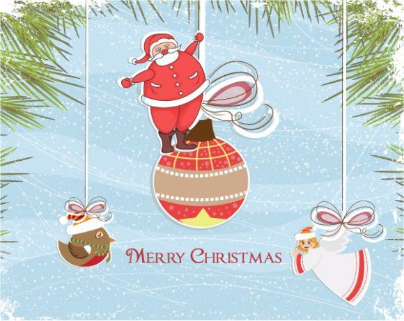 Greeting, Holiday Vector Illustration Vector Christmas Greeting Card 1