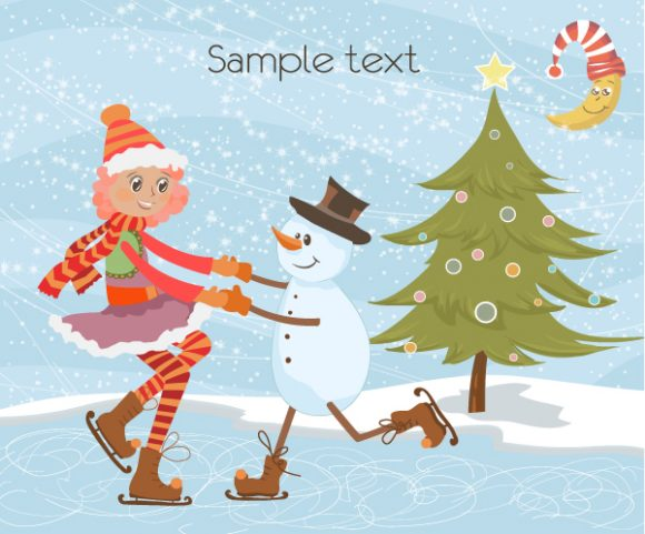 Card Vector Illustration Vector Christmas Greeting Card 1