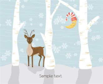 Vector Christmas Greeting Card Vector Illustrations tree