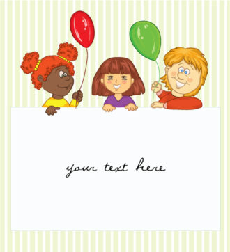 Kids With Baloons  Vector Illustration Vector Illustrations vector