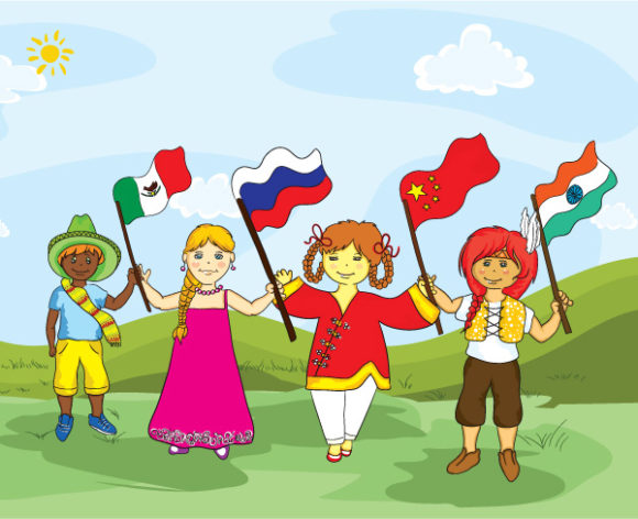 Stunning Vector Vector: Kids With Flags Vector Illustration 1