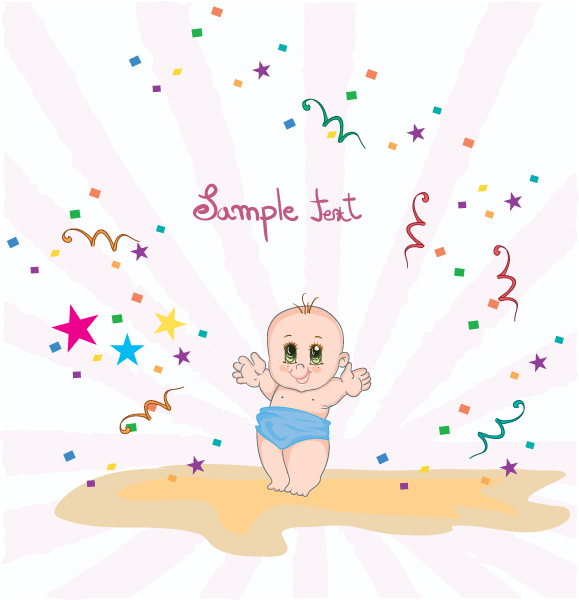 Lovely Rays Vector Image: Baby With Rays Vector Image Illustration 1