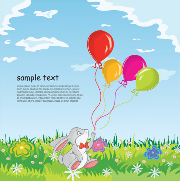Special Rabbit Vector Graphic: Rabbit With Baloons Vector Graphic Illustration 1
