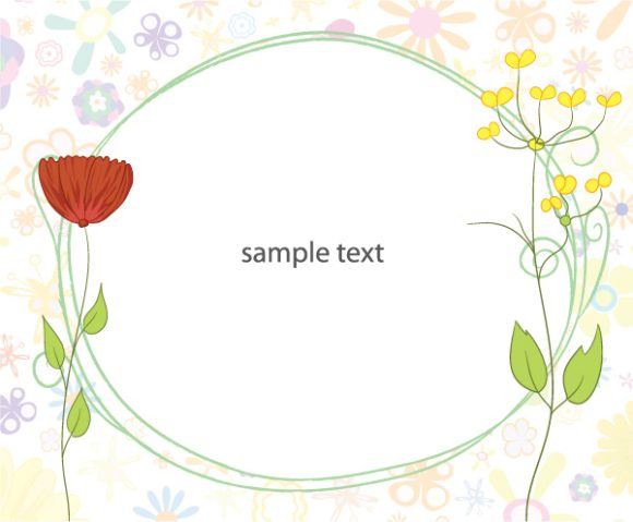 Stunning With Vector Graphic: Frame With Flowers Vector Graphic Illustration 1